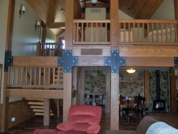 Interior Balcony of Log Home