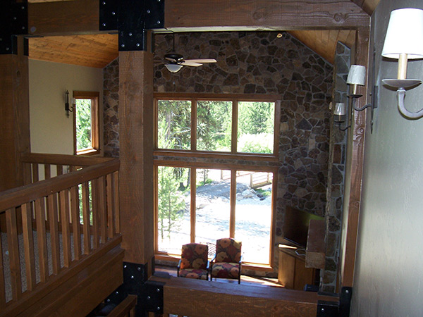 Looking Out Windows of Log Cabin